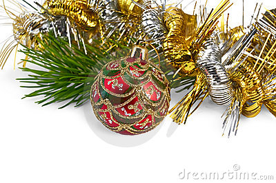 Christmas red ball with pine branch