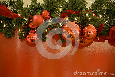 Christmas red balls lights tree background