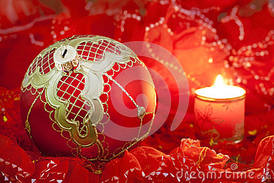 Christmas red bauble and candle