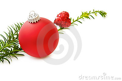 Christmas red bauble and heart