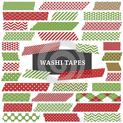 Christmas Red and Green Washi Tape Strips Clip Art
