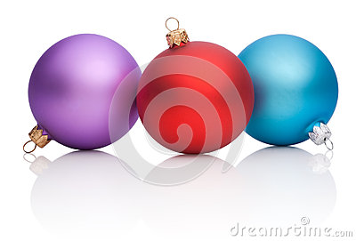 Christmas Red, Purple, Blue Baubles