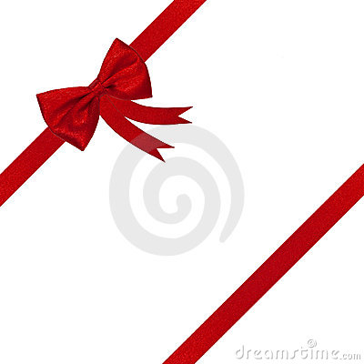 Christmas red ribbon and bow