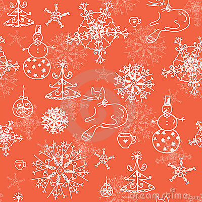 Christmas red seamless pattern with cats