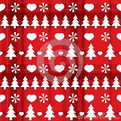 Christmas red seamless pattern with Christmas tree
