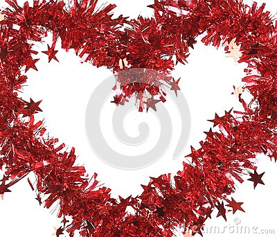 Christmas red tinsel with stars as heart.
