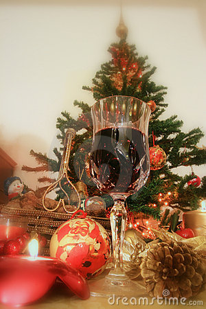 Christmas and red wine
