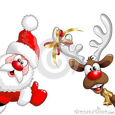 Free Christmas Reindeer And Santa Fun Cartoons Royalty Free Stock Photos - 62923848