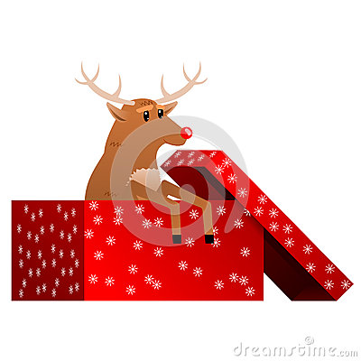 Christmas reindeer in the box vector
