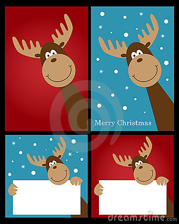 Free Christmas Reindeer Cards Stock Photography - 21491132