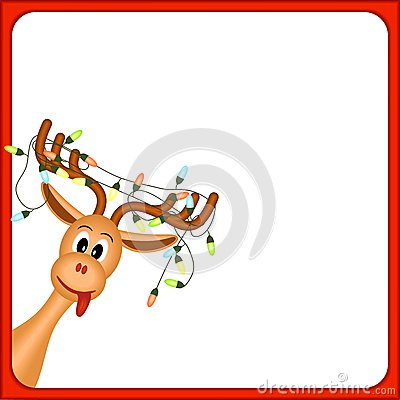 Christmas reindeer with electric lights in antlers