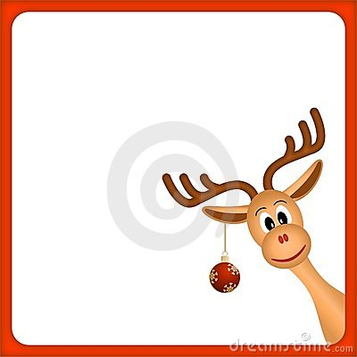 Christmas reindeer in empty frame with red border