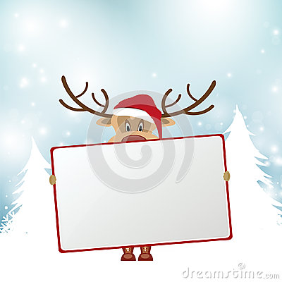 Free Christmas Reindeer Holding Blank Sign Stock Photo - 45417920