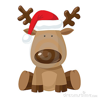 Free Christmas Reindeer In Santa`s Red Hat Stock Photography - 21974882