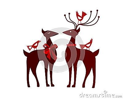 Christmas reindeer with nordic birds