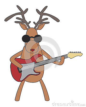 Christmas reindeer playing guitar Vector Illustration