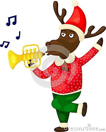 Christmas reindeer playing music Vector Illustration