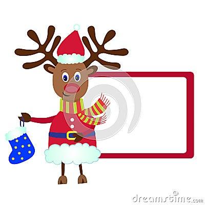 Christmas Reindeer Rudolf with a gift