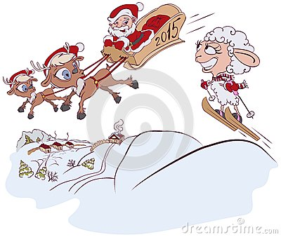 Christmas Reindeer, Santa Claus and a sheep. Symbol 2015