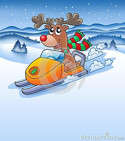 Christmas reindeer in snowy