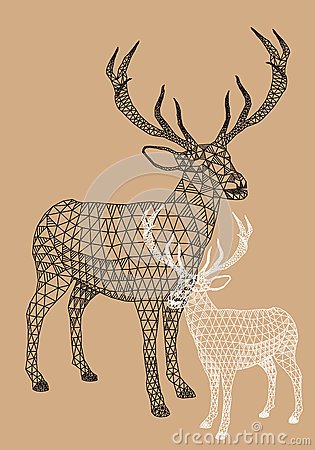 Free Christmas Reindeer With Geometric Pattern, Vector Stock Photography - 34321732