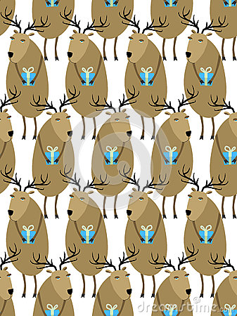 Free Christmas Reindeer With Gifts Seamless Pattern. Horny Animals, S Royalty Free Stock Photos - 58809808