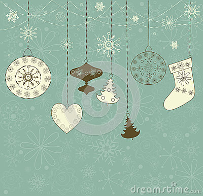 Free Christmas Retro Background With Toys. Royalty Free Stock Photography - 27421767