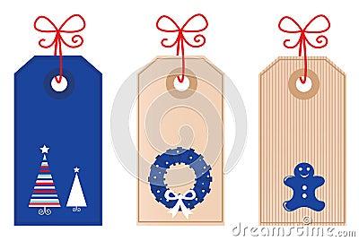 Christmas retro blank Tags