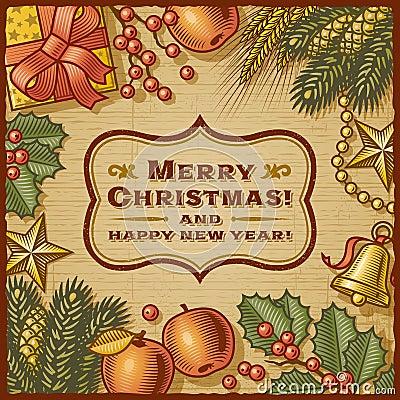 Free Christmas Retro Card Royalty Free Stock Image - 27863826