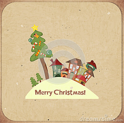 Christmas retro card with houses