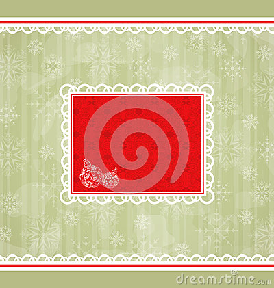 Christmas retro card, ornamental design elements