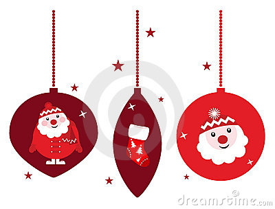 Christmas retro decoration set isolated on white