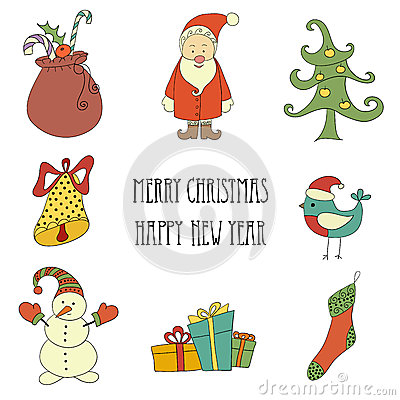 Free Christmas Retro Elements And Illustrations, Lettering. Stock Photography - 45645322