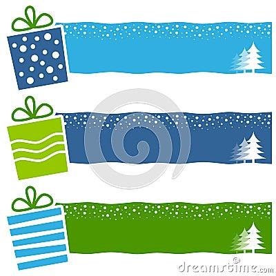Christmas Retro Gifts Horizontal Banners