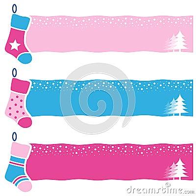 Christmas Retro Socks Horizontal Banners