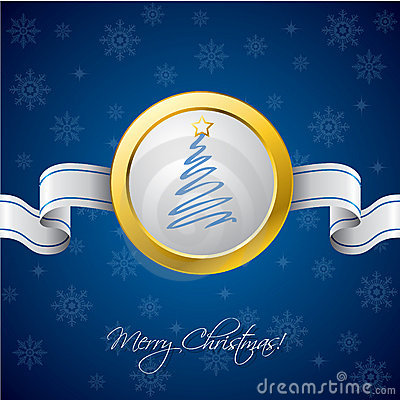 Christmas ribbon card in blue