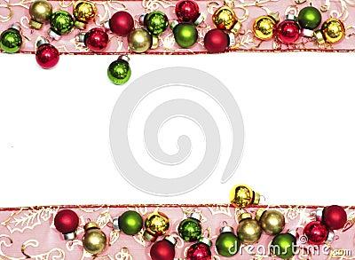 Christmas ribbon and christmas balls