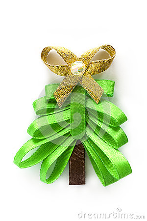 Christmas ribbon fir tree with gold bow