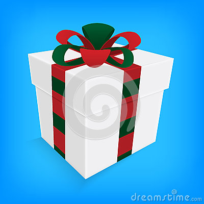Christmas ribbon and white gift box