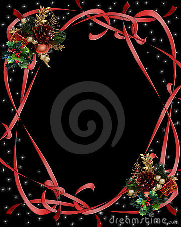 Christmas Ribbons Border on black