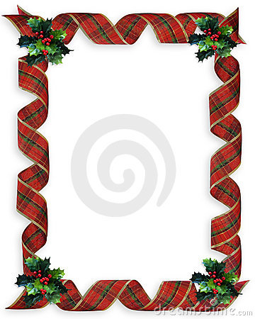Christmas Ribbons Holly border frame