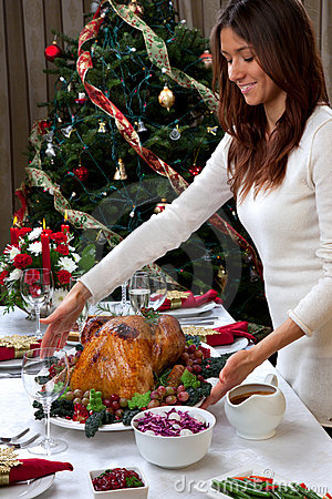 Free Christmas Roasted Turkey Woman Serving Royalty Free Stock Photo - 20784815