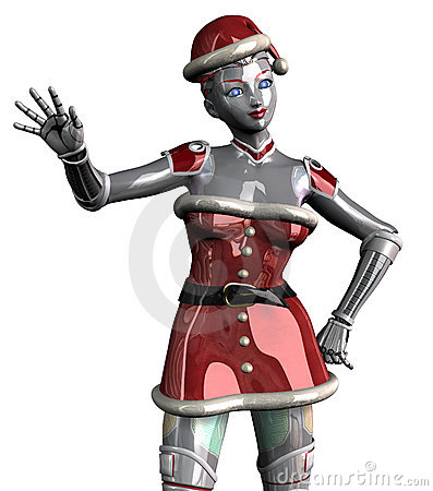 Christmas Robot Waving - close cropped - with clipping path