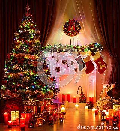 Free Christmas Room And Lighting Xmas Tree, Magic Interior Fireplace Stock Photo - 79716280
