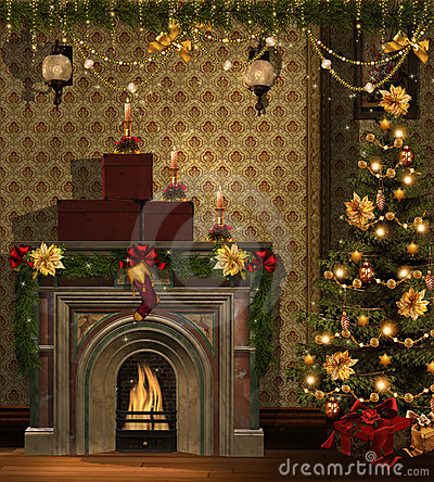 Christmas Room With Golden Decorations Royalty Free Stock Photos - Image: 21839558