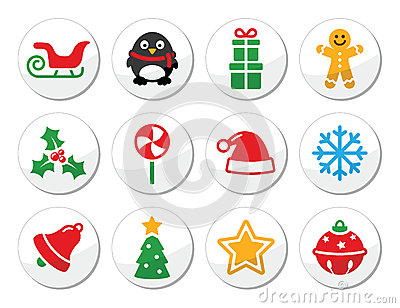 Christmas  round icons set