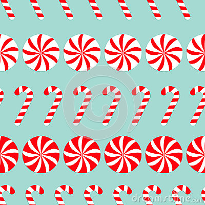 Christmas Candy Cane Round White And Red Sweet Set. Seamless ...