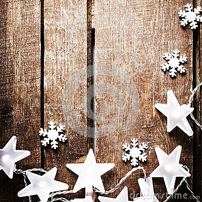 Free Christmas Rustic Background With Lights, Snowflakes, Stars And F Royalty Free Stock Photography - 47562167