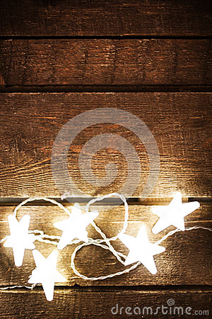 Free Christmas Rustic Background With Lights, Snowflakes, Stars And F Royalty Free Stock Photography - 47562187