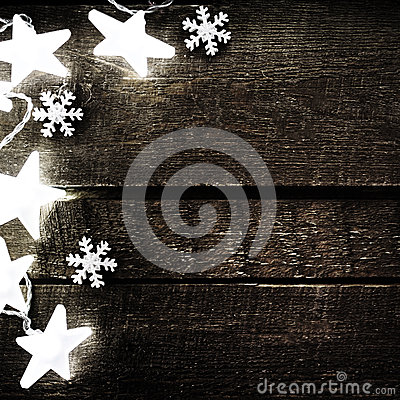 Free Christmas Rustic Background With Lights, Snowflakes, Stars And F Stock Image - 47709461